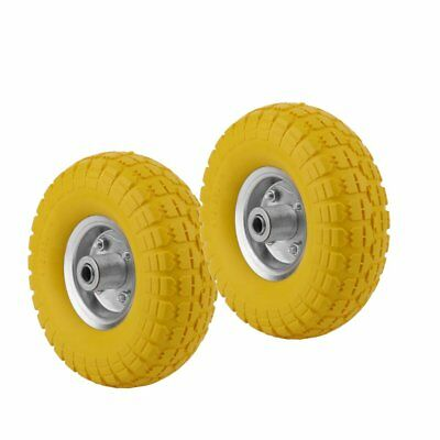 "10"" Puncture Burst Proof Wheel Yellow Solid Rubber Tyre Sack Truck Trolley X 2"