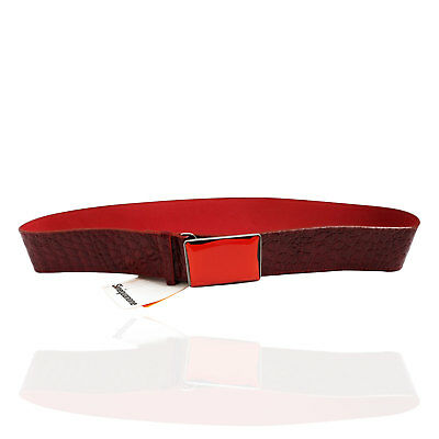 Sinequanone Cintura in Pelle Bordeaux Effetto Serpente Donna Women's Belt Tg.95