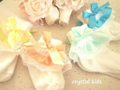 Handmade Baby Girls Reborn White Frilly Summer Colour Satin Christening Socks