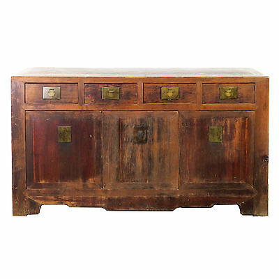 "Antique Chinese Asian 62"" Long Buffet Sideboard Credenza Cabinet Rustic Brown"