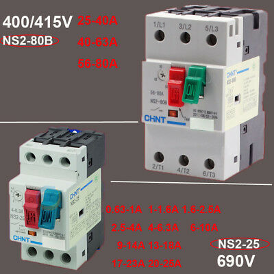 0.63-80A Motor Starter Isolator Switch Circuit Breaker 3 Phase 400/415/690Volt