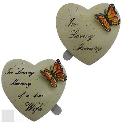7cm Polyresin Butterfly Heart Memorial Grave Tribute Self Adhesive