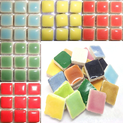 Mini Glazed Ceramic Mosaic Tiles for craft 10mm - 81pcs Various Colours