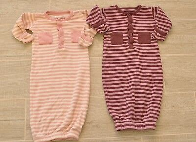 L'oved Baby Set of 2 Sleeper Gowns 0-3 Months Organic Cotton