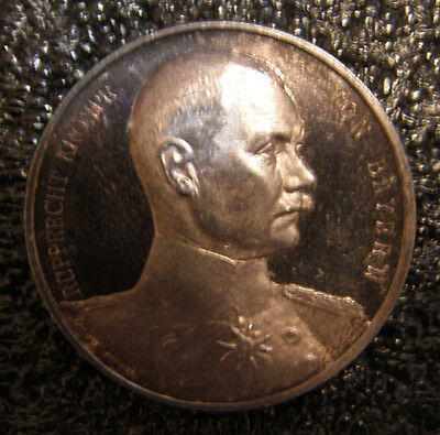 Germany 1914 Wwi Ruppecht Von Bayern Prince,silver Medal Proof Rare.
