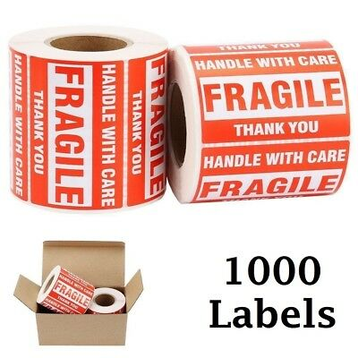 """1000 Large 2""""x3"""" Handle with Care FRAGILE Labels Stickers on Plastic, Cardboard"""