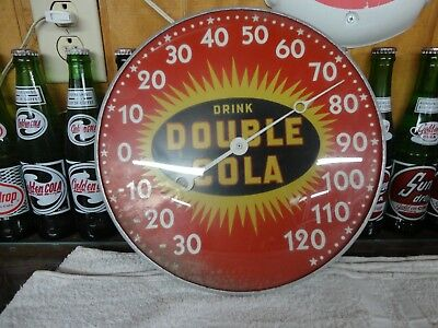 "Early Double Cola Thermometer 1940's Star Burst Design 12"" Glass Lens"