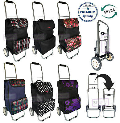 Folding / Collapsible Compact 2 Wheel Shopping Trolley with Large Front Pocket