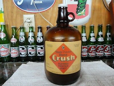 Orange Crush Fountain Soda Syrup 1 Gal Paper Label Jug Amber Grained Glass