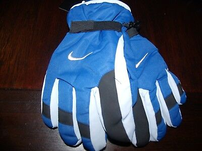 NIKE GLOVES YOUTH BlUE/GRAY THINSULATE SKI GLOVES BOYS Size 8-20**NEW**