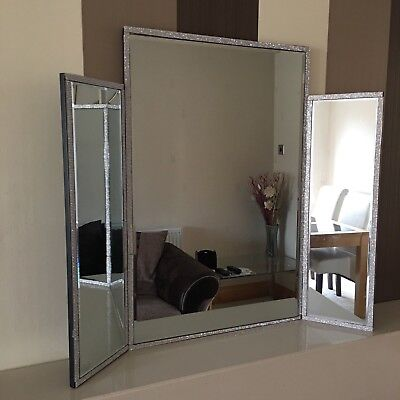Triple Dressing Table Make up Mirror large tri Fold DIAMANTE LACE TABLE  mirror