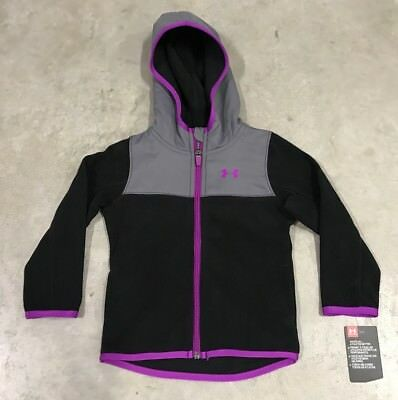 Under Armour Hundo Full Zip Toddler Fleece Hoodie Black Purple SZ (27D14105-01)