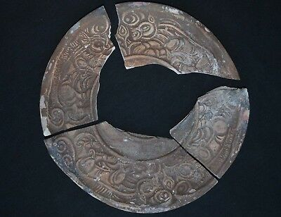 Ancient Celtic Ceramic Dish. Richly Decorated Plate with Beast, circa 150-50 Bc.