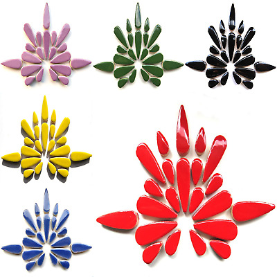 Ceramic Teardrops for Mosaics arts and crafts - 50g Various Colours