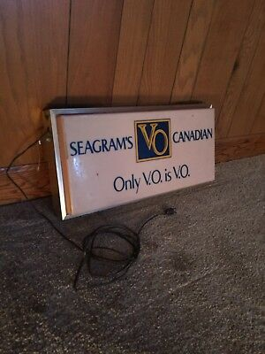 Seagram's Canadian VO Whisky Bar Sign Lighted UNIPLEX Metal