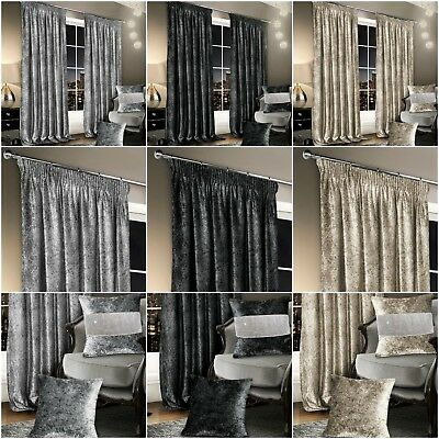 Crushed Velvet Fully Lined Pencil Pleat Stylish Thick Luxury Modern Curtains