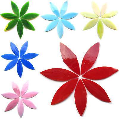 Large Stained Glass Petals for Mosaic Arts and Crafts -  50g Various Colours