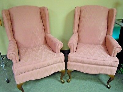 Pair - Wing Back Queen Anne Chairs - Mauve Fabric