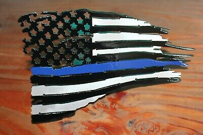 Tattered flag trailer hitch cover black with blue line