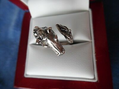 Vintage  HORSE RING  Artistic 800 Silver HORSE & Tail Wrap  Ring Size 5 to 6