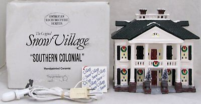 "Department 56 Snow Village ""Southern Colonial"" American Architecture 1991 54038"