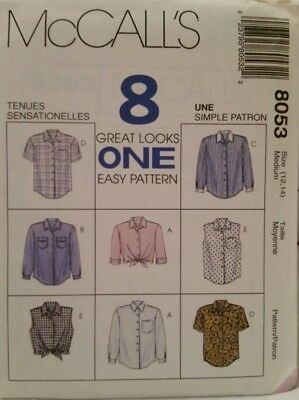8053 Uncut McCall's Sewing Pattern For Misses' Blouses, Shirts, Tops Size 12-14