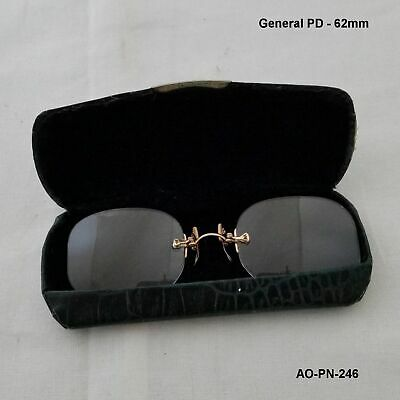 AO 12K Gold Fill PINCE NEZ Antique Eyeglasses & Camel Back Case