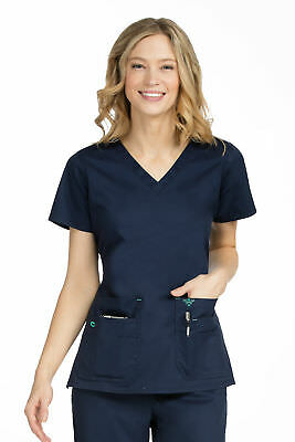 """Med Couture Women's """"Flex-It"""" 8458 Knit Back Panel Scrub Top"""