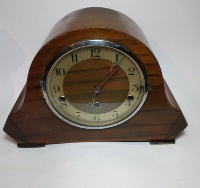 Vintage Wooden Mantle Pendulum Clock Made in Wurttemberg