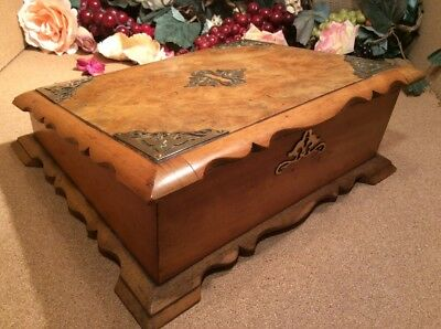 Rare Antique Mid 1800S Burr Walnut Top Writing Slope Box Brass Mounts