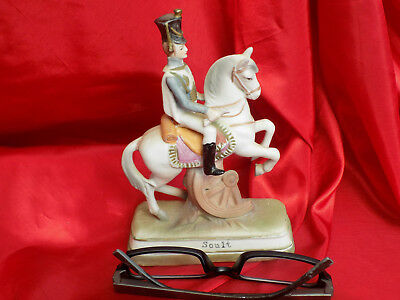 Soldat De L'empire Napoleon  Soult Sur Son Cheval  En Biscuit Deco Antique