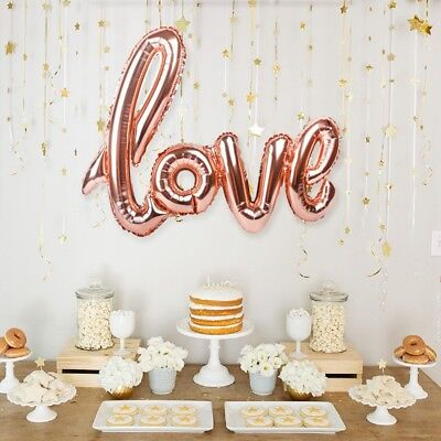 Rose Gold LOVE Heart Foil Balloon Engagement Wedding Supply Birthday Party Decor