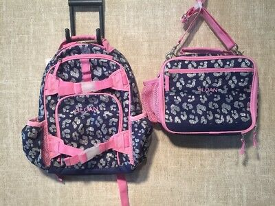 NWT Pottery Barn Kids Small Backpack & Lunch Box COMBO-Cheetah, Monogram: Sloan