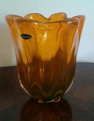 Stylish Vintage Retro 1960's 1970's Murano Art Glass Orange Vase Italy