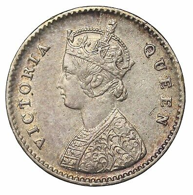 British India Queen Victoria 1875-C Silver 2 Annas KM#469