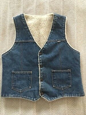 Vtg Nelson Denim Sherpa Fleece Lined Vest Blue Jean Snap Front Rancher Men Large