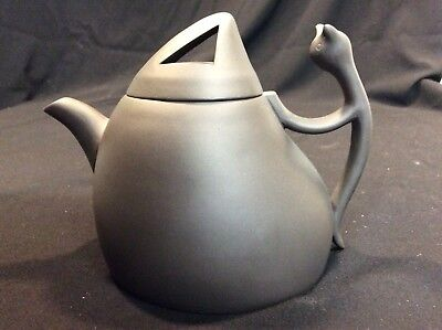Chinese Yixing CAT Teapot 2002 Pottery Cat Handle