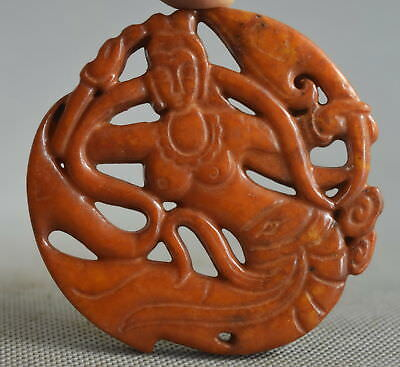 Exquisite Collectable Handwork Jade Carve Belle Fly Sky Auspicious Lucky Pendant