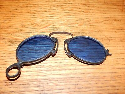 Antique L. Kimball Co.folding Sunglasses Cobalt Blue With Case Steampunk