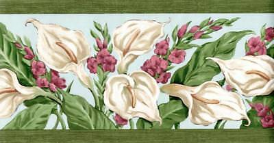 White Flower Green Leaf Lilly Rustic Garden Florist Red Floral Wallpaper Border