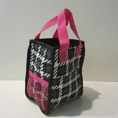 Thirty One Little Carry All Tote Black White Pink Euc