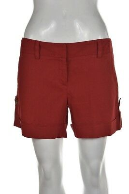 57c55e7f98 THEORY WOMENS SHORTS Size 4 Solid Red Linen Casual Low Rise - $29.99 ...