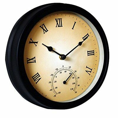 Outdoor Garden Vintage Clock With Thermometer Black Battery Powered Wall Mounted