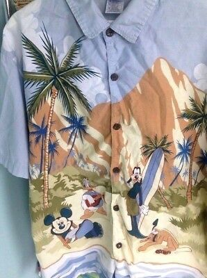 dff2f9dde Disney Mens HANG LOOSE Surfing Palm Beach Hawaiian Shirt XL Mickey Goofy  Pluto
