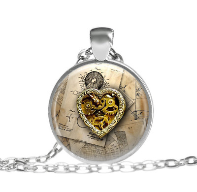 teampunk jewelry Steampunk heart Tibet silver pendant chain Necklace