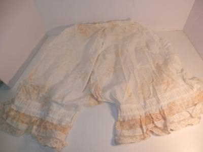 antique old white lace pantaloons one piece Victorian Edwardian