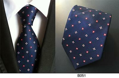Navy Blue, Red and White Patterned Handmade 100% Silk Tie