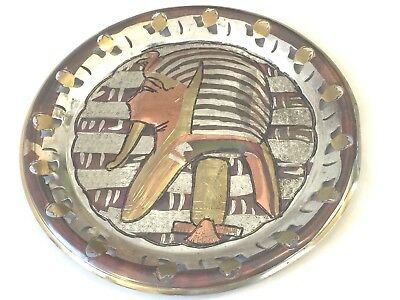 Antique Egypt Egyptian Pharaoh King Tut Tutankhamen Cut Out Copper Brass Plate