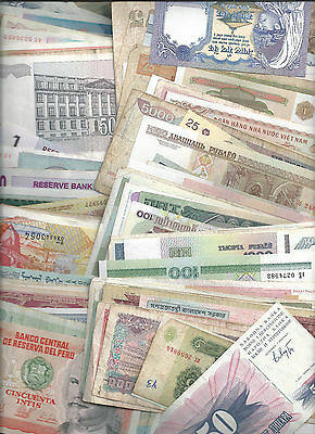 100 Different Collectible Genuine World Banknotes  - Many Hyperinflation