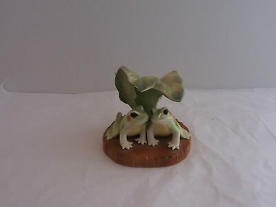 Pair Of Frogs Under A Lily Pad Figurine.  Very Nice Frog-Themed Collectible
